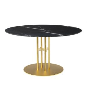 Table TS Column - plateau en marbre diam 130 - base en laiton - Gubi
