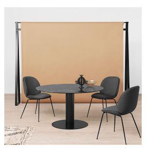 Table haute 2.0 en marbre - piétement noir - 130 cm
