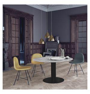 Table haute 2.0 en marbre - piétement noir - 110 cm