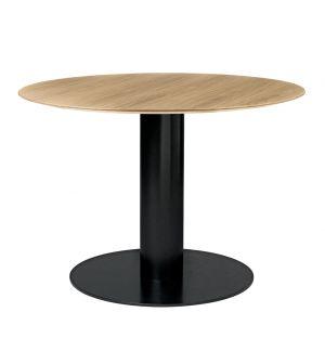 Table haute 2.0 plateau bois - piétement noir - diam 110 cm