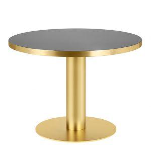 Table haute 2.0 verre et laiton - diam 110 cm