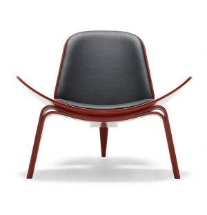 Chaise CH07 hêtre laqué & cuir Loke - Carl Hansen