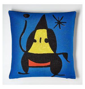 Housse de coussin bleue Miró