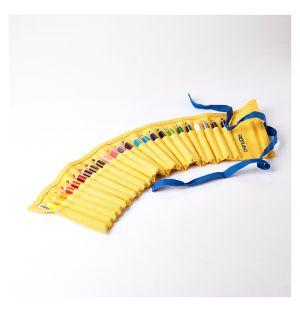 Trousse à crayons 24 compartiments jaune