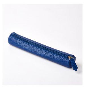 Trousse Tube Cuir bleu