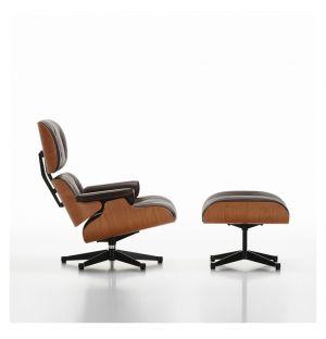 Lounge Chair & Ottoman - cuir chocolat - coque en cerisier - Vitra