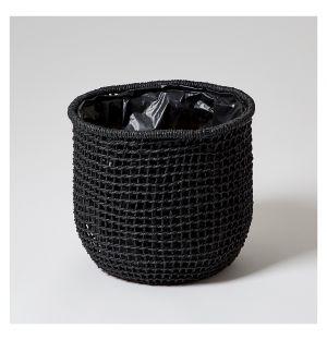 Pot en vannerie Carre noir - diam 28,5 cm