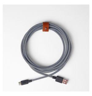 Câble BELT XL zébré USB-A & USB-C - 3 m