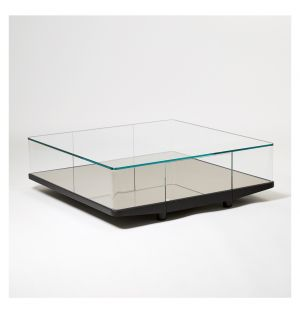 Table basse carrée Collector bronze & miroir