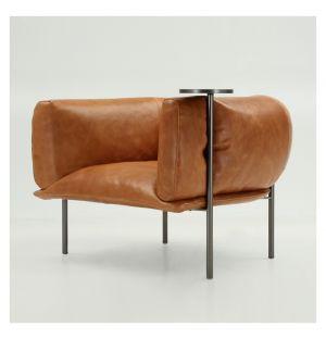 Fauteuil Rondo en cuir Nobilis Tegola et petite table pivotante