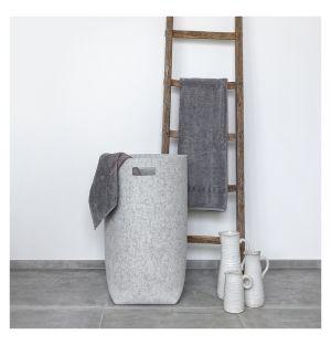 Panier à linge en laine gris chiné