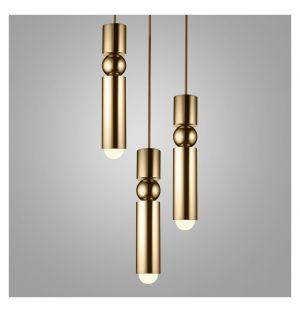 Suspension Fulcrum 3 chandeliers doré poli