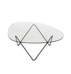 Table basse en verre et acier noir Pedrera