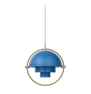 Suspension Multi-Lite bleue et laiton - Gubi