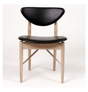 Chaise 108 chêne et cuir noir