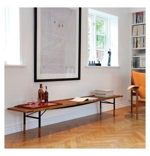 Table Bench noyer et laiton 225 cm