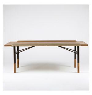 Table Bench noyer et laiton 112 cm