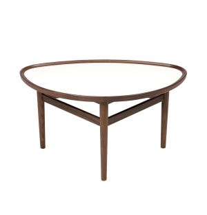 Table basse Eye noyer - plateau blanc