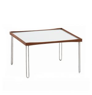 Table basse Tray - plateau noyer et blanc