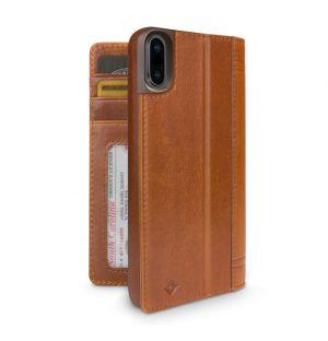 Coque Journal pour iPhone X en cuir cognac