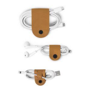 Set de 3 porte-câbles CableSnap en cuir cognac