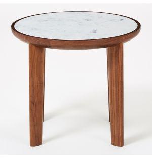 Table d'appoint Hole en noyer & marbre de Carrare
