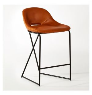Tabouret de bar Cross Leg cuir tan Legacy