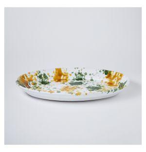 Plat ovale moucheté moutarde & vert – 52 cm