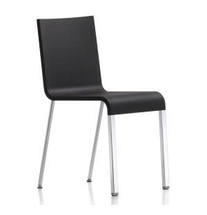 Chaise .03 noire & piètement chromé