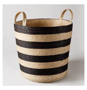 Panier cylindrique rayures noires – 40 cm