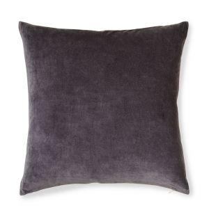 Housse de coussin en velours gris et lin – 50 x 50 cm