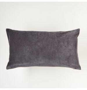 Housse de coussin en velours gris Fog – 30 x 55 cm