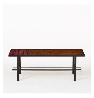 Table basse mid-century en teck et ceramique 1950s