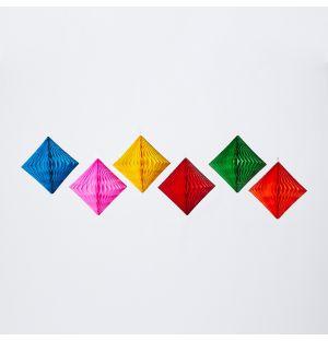 Set de 6 décorations de Noël en papier alvéolé – 10 cm