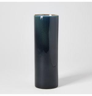 Vase bleu foncé Tube – H 21 cm