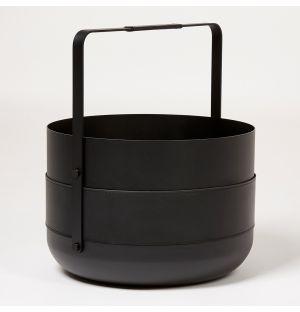 Panier à bûches Emma en acier noir