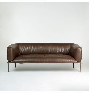 Canapé 2 places Rondo en cuir Mocca - Modèle d'exposition
