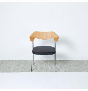 Tapis Kilim à mini losanges gris & vermillon - 250 x 70 cm