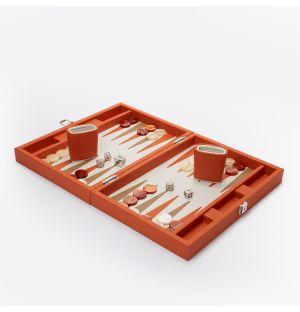Backgammon en cuir orange
