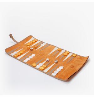 Backgammon de voyage à rouler en cuir velours orange