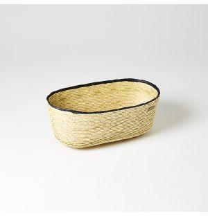 Panier ovale beige à bordure charbon