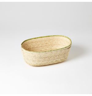 Panier ovale vert et beige – Medium