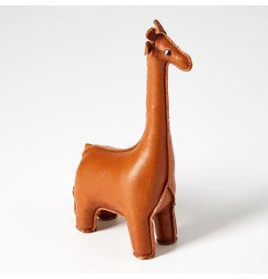 Presse-papier Girafe en cuir synthétique marron
