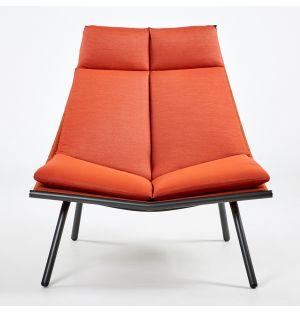 Chaise longue à dossier haut LAZE 002 Fumée et Orange