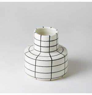Vase blanc à rayures noires Square