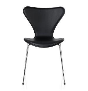 Chaise Série 7 - modèle 3107 assise en cuir Basic noir & dos en frêne teinté noir
