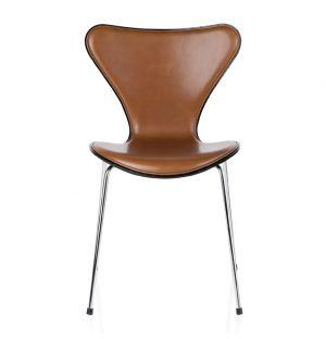 Chaise Série 7 - modèle 3107 assise en cuir Extreme walnut & dos en frêne teinté noir