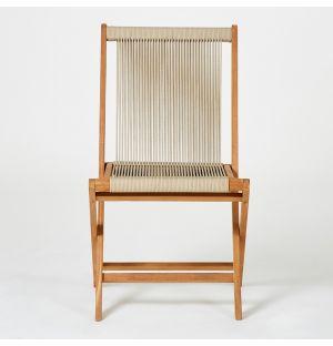 Chaise pliante en teck et corde beige