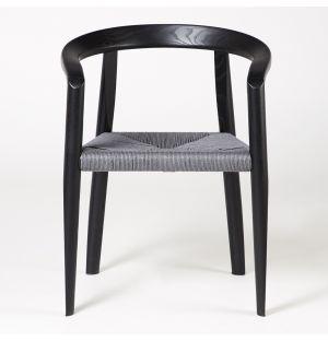 Chaise MHC.3 Miss assise tressée noire