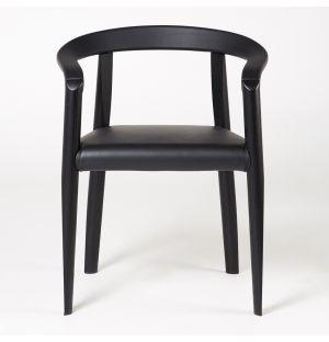 Chaise MHC.3 Miss assise cuir noir